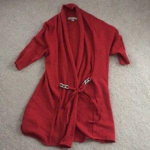 Red short sleeves cardigan